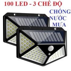 Bộ 2 Đèn năng lượng mặt trời Solar 1000 LED siêu sáng, 3 chế độ sáng (Đen) đèn led, đèn cảm biến chuyển động, đèn chống trộm, đèn trang trí sân vườn, đèn ngoài trời