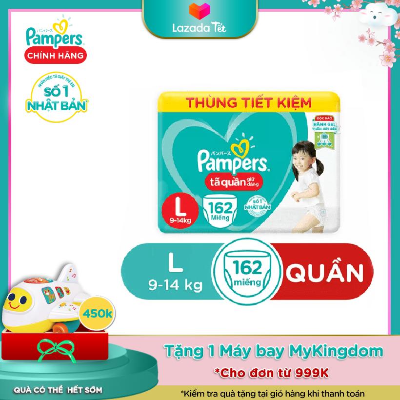 Combo 3 Tã Quần Giữ Dáng Pampers - Thùng Mega Tiết Kiệm Hàng Tháng - Size L 54x3 (L162) -...