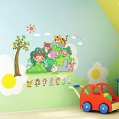 Giấy dán tường 3D hoạt hình đẹp giá rẻ sticker dán nhà bếp phòng ngủ phòng khách khu vườn cho bé và vương quốc loài vật cho bé gái (Nhiều màu)