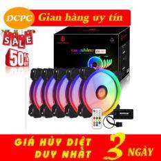 Bộ 5 Fan case Coolman Sunshile Led RGB Dual Ring 16 Triệu màu, 366 hiệu ứng – Kèm Hub Và Điều Khiển