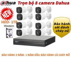 Trọn bộ camera giám sát hồng ngoại độ nét cao Dahua 2.0Mb ,Đầu ghi hình full HD 1080P dahua XVR1A08, 8 cam thân B1A21P , ổ cứng 1T, tên miền xem qua mạng trọn đời