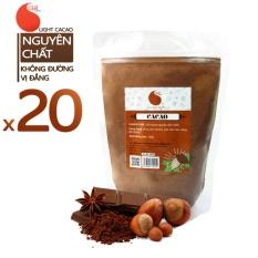 20 gói (10kg) Cacao nguyên chất 100% – Light Cacao