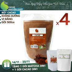4 gói (2kg) Cacao nguyên chất 100% – Light Cacao