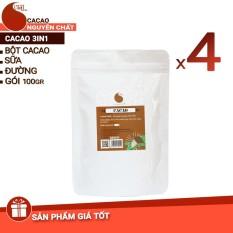 4 gói (400gr) cacao 3IN1 nguyên chất 100% – Light cacao – 100gr/gói