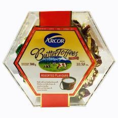 Arcor Kẹo Butter Toffees 300GR- hộp nhựa lục giác