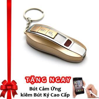 Bật lửa hồng ngoại kiêm móc khóa xe hơi kèm cáp sạc F525 (Vàng) + Tặng bút cảm ứng kiêm bút ký