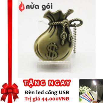 Bật lửa khò kiêm móc khóa kiểu bịch tiền Dollar Box F40 (vàng đồng) + Tặng đèn LED cổng USB