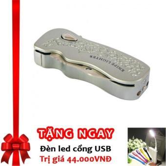 Bật lửa khò LX4 kiêm dao bấm chuyên dụng có chốt an toàn F551 (Bạc) + Tặng đèn LED cổng USB