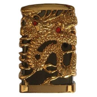 Bật lửa kiểu dáng Zippo bọc hình rồng nguyên khối (Vàng đen)