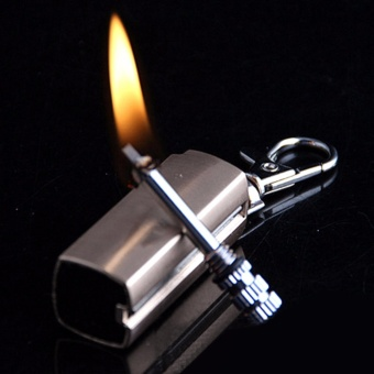 Bật lửa móc khóa mini xăng kiểu diêm quẹt HY613 vỏ hợp kim (màu bạc)