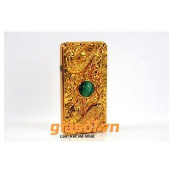Bật lửa sạc điện rồng nổi quấn Ngọc xanh (Vàng)