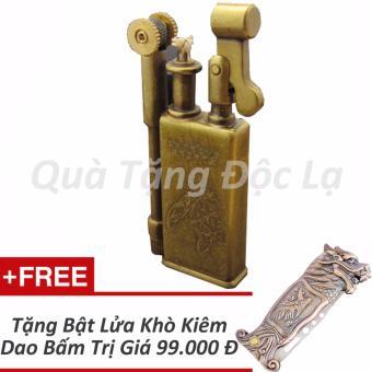 Bật lửa Xăng Đá Kiểu Cổ JiFeng 005B + Tặng Bật Lửa Khò Kiêm Dao Bấm