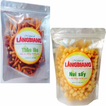 Bộ 2, Bánh thèo lèo cay giòn (250gr) và snack nui bi sấy cay giòn(300gr), thơm ngon