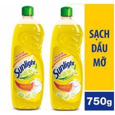 Bộ 2 chai nước rửa chén Sunlight chanh 100 750g