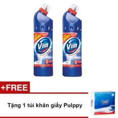 Giá KM Bộ 2 chai nước tẩy bồn cầu Vim diệt khuẩn 900ml (Xanh biển) + Tặng 1 túi khăn giấy Pulppy