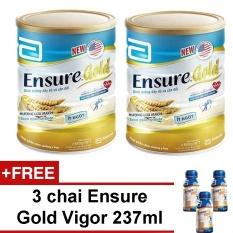 Bộ 2 Ensure Gold hương lúa mạch ít ngọt 850g + Tặng 3 chai Ensure Gold Vigor 237ml