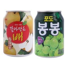 Bộ 2 Lon Nước Ép Lê Và Nho Nguyên Chất Hàn Quốc 238ml/Lon