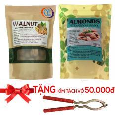 Bộ 2 Túi Quả óc chó và Hạt Hạnh nhân chiên bơ Mỹ loại 500gr