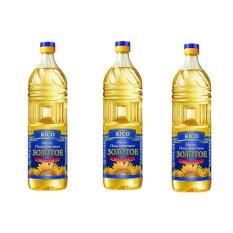 Bộ 3 chai Dầu ăn hướng dương KICO Zolotoe Zdorovie 1L