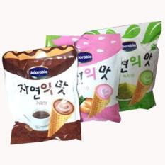 Bộ 3 Gói Bánh ốc quế Adorable (Kem Trà Xanh+Cà Phê+Dâu) 300g/gói Hàn Quốc