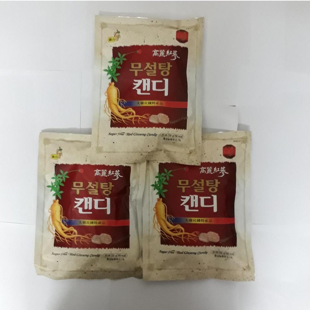 Mẫu sản phẩm Bộ 3 gói kẹo sâm không đường Hàn Quốc(200gr/ gói)