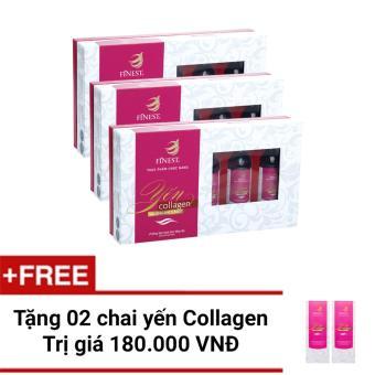 Bộ 3 hộp Nước Yến Collagen Finest Hộp 5 (100ml x 5) + Tặng 2 chaiYến 100ml cùng loại