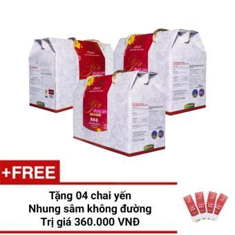 Bộ 3 hộp Nước Yến Nhung Sâm Finest không đường Hộp 10 (100ml x 10)+ Tặng 4 chai Yến 100ml cùng loại