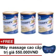 Bộ 3 hộp sữa Ensure Gold hương vani 850g + Tặng máy massage cao cấp trị giá 550.000VNĐ