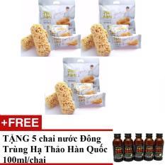 Bộ 3 Túi Bánh Yến Mạch 400g/túi Hàn Quốc + TẶNG 5 Chai Nước uống Đông Trùng Hạ Thảo Hàn Quốc 100ml/chai