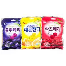 Bộ 3 Túi Kẹo Cứng Trái Cây Hàn Quốc Vị Việt Quất+Chanh+Mâm Xôi (100g/túi)