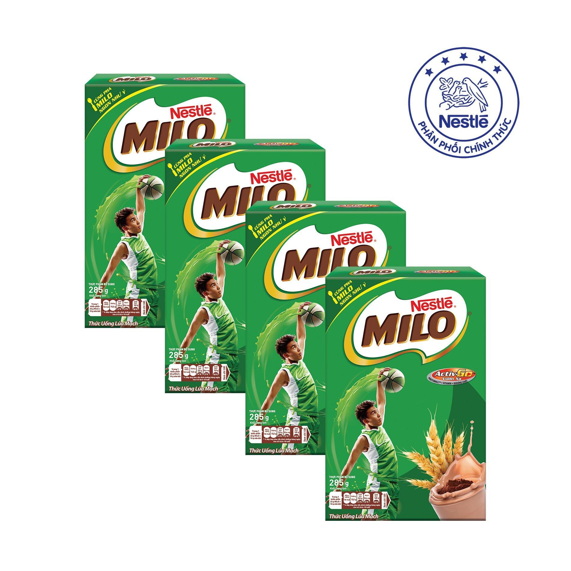 Nơi mua Bộ 4 Hộp Giấy MILO ACTIV-GO Dạng Bột (285g)