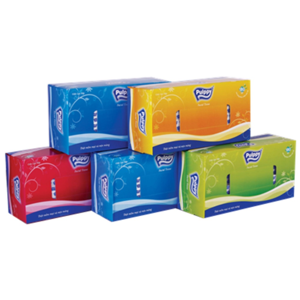 Bộ 5 hộp giấy ăn hộp rút Pulppy 180 tờ