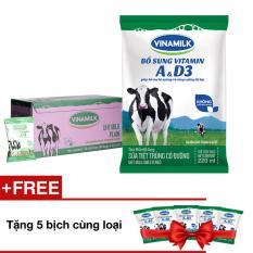 Bộ 50 Bịch Sữa tiệt trùng Vinamilk có đường 220ml + 5 bịch cùng loại