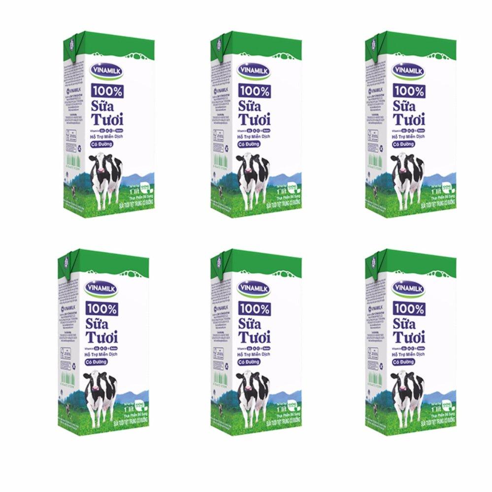 Bộ 6 Hộp Sữa tươi tiệt trùng Vinamilk 100% Có đường - Hộp giấy 1L