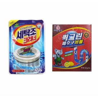 Bộ Bột Thông Tắc Bồn Cầu Siêu Mạnh + Túi Bột Tẩy Vệ Sinh Lồng Máy Giặt, Khử Mùi, Diệt Khuẩn