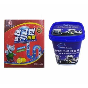 Bộ Bột thông tắc đường ống Hàn Quốc và Kem đa năng tẩy xoong nồi và đồ gia dụng
