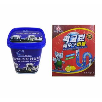 Bộ Bột thông tắc ống nước, bồn cầu Hàn Quốc và Hộp kem tẩy rỉ kim loại đa năng