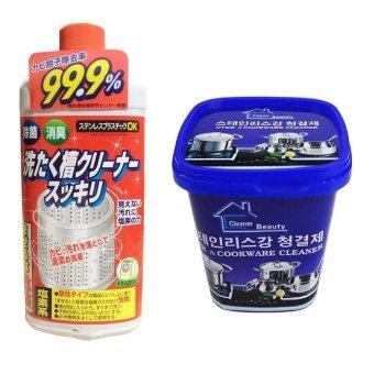 Bộ Dung dịch vệ sinh lồng máy giặt Rocket +Hộp kem tẩy rửa nhà bếpđa năng