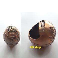 Bộ Gạt tàn thuốc và Lọ đựng tăm chất liệu hợp kim, thiết kế tinh xảo, mầu đồng cổ điển, sang trọng -NPP HS shop