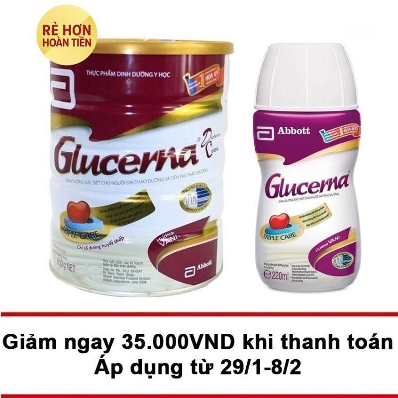Nơi bán Bộ Glucerna hương vani 850g và chai nước Glucerna 220ml