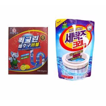 Bộ Gói Bột Tẩy Vệ Sinh Lồng Máy Giặt, Khử Mùi, Diệt Khuẩn + Bột Thông Tắc Đường Ống Thoát Nước