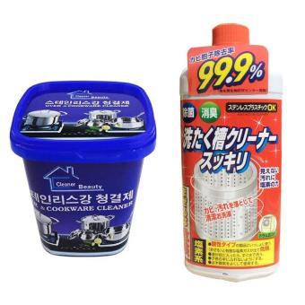 Bộ Hộp kem Siêu tẩy vết bẩn nhà bếp, nhà tắm và Dung dịch vệ sinh lồng máy giặt Nhật Bản