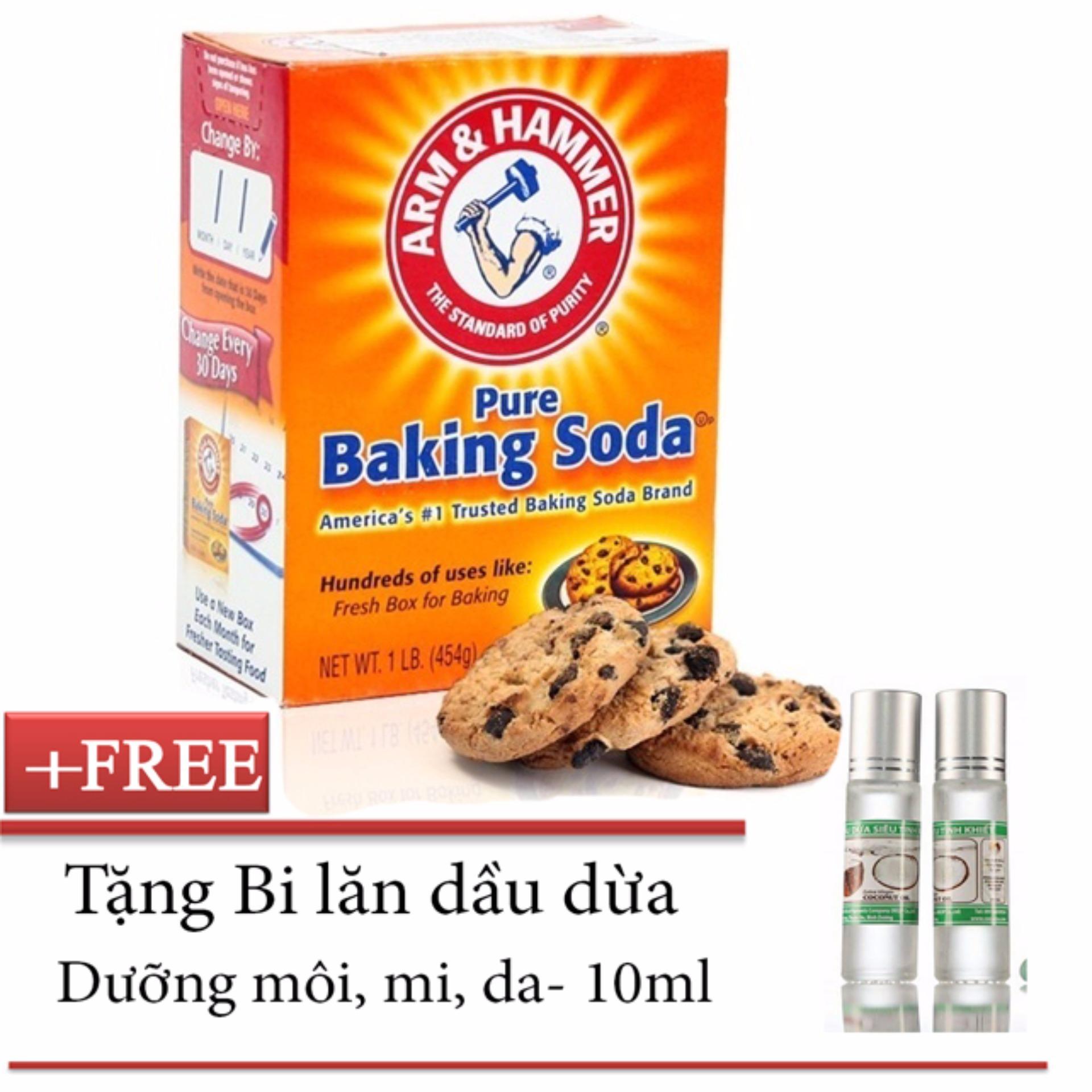 Chỗ nào bán Bột Baking Soda 450g + Tặng Bi lăn dầu dừa dưỡng môi, mi, da
