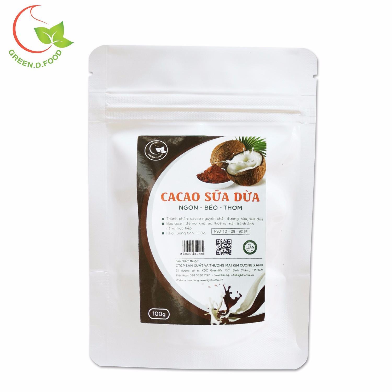 Bột cacao sữa dừa Green D Food - gói 100g