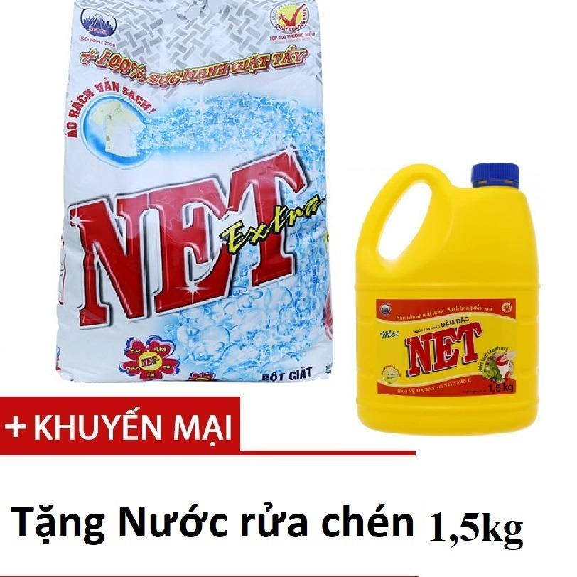 Bột giặt Net Extra hương Hoa thiên nhiên 6kg tặng nước rửa chén 1,5kg