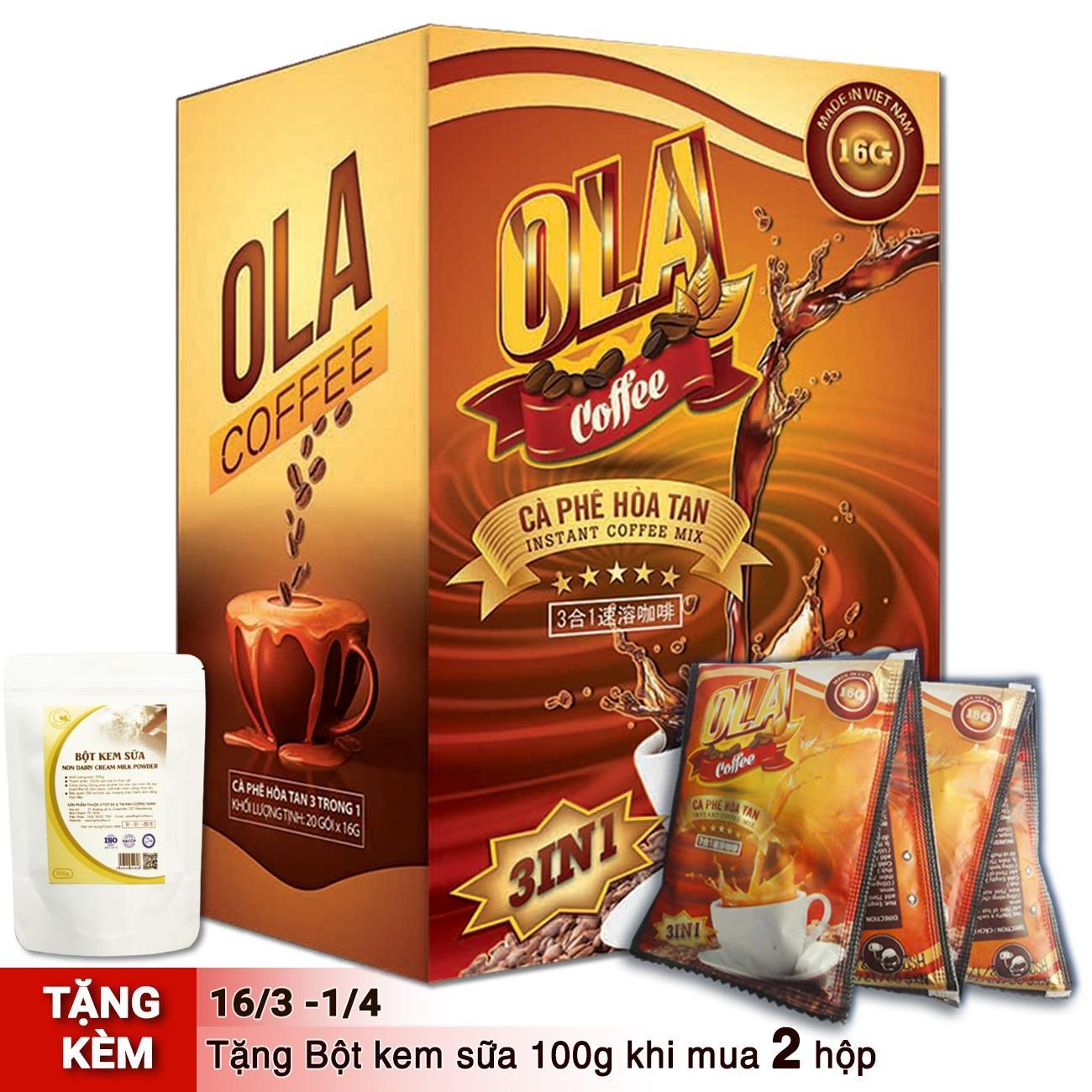 Giá Khuyến Mại Cà Phê Hòa Tan 3 In 1 Nguyên Chất 100% – Ola Coffee – Hộp 18 Gói