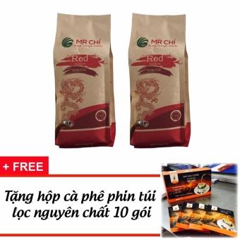 Cà phê Nguyên chất 100% hạt Robusta rang xay Mr Chí 1kg + Tặng 1hộp cà phê phin túi lọc 10 gói