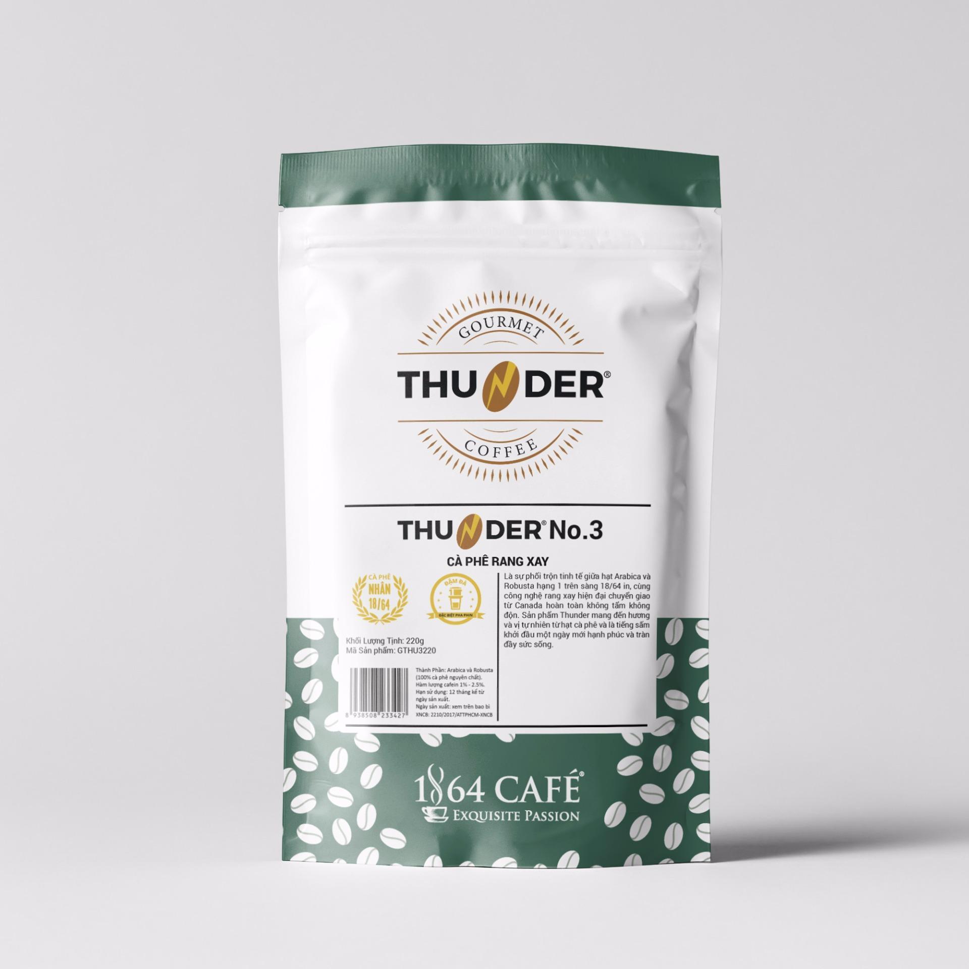 Cà phê rang xay Thunder No.3 220g – Robusta Hạng 1