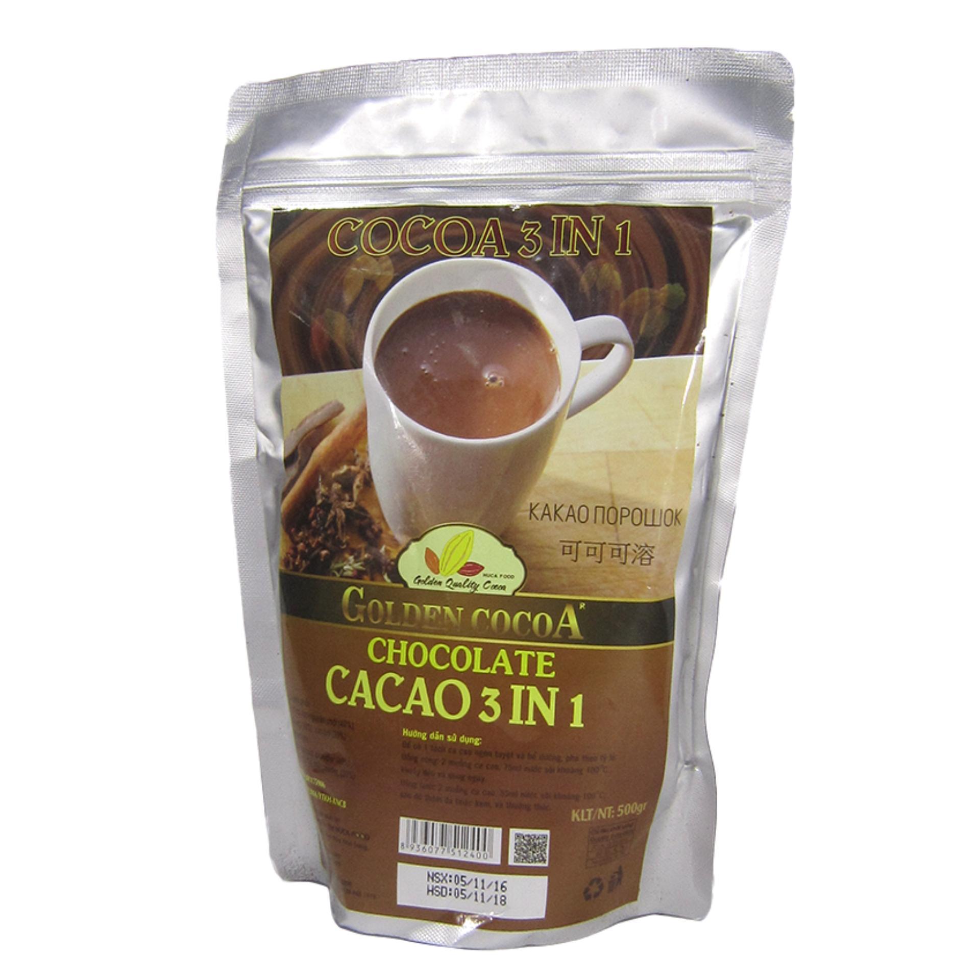 Cacao 3in1 túi zipper 500g Golden Cocoa
