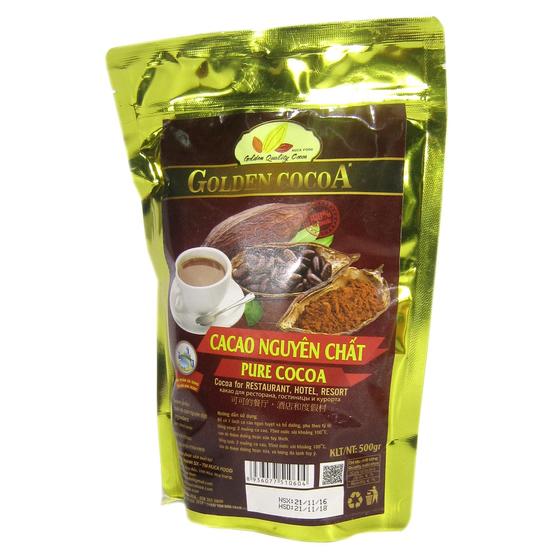 Cacao nguyên chất Golden Cocoa túi zipper 500g dành cho nhà hàng